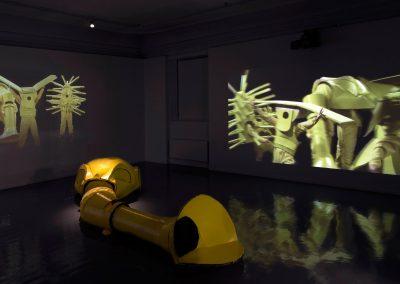 Cleaning Samurai, exhibition view, Encapsulation Suits, Oslo Kunst Forening, Oslo, 2015. Foto: Christina L. Hansen