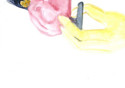 Flipped woman 01, 2015. Watercolour on paper, 21 x 29,7 cm.