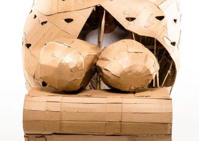 Helmet, 2018. Cardboard, bamboo, textile, 210 x 130 x 140 cm. Foto: Alex Efimoff